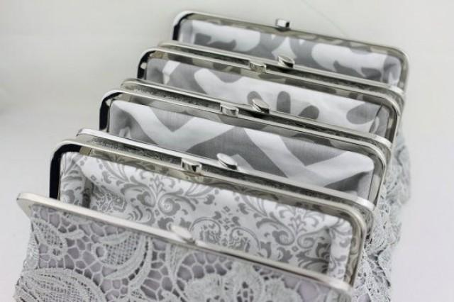 wedding photo - Grey Lace Clutch With Multi Lining Bride Clutches / Bridesmaid Gifts / Wedding Clutch - Set Of 6