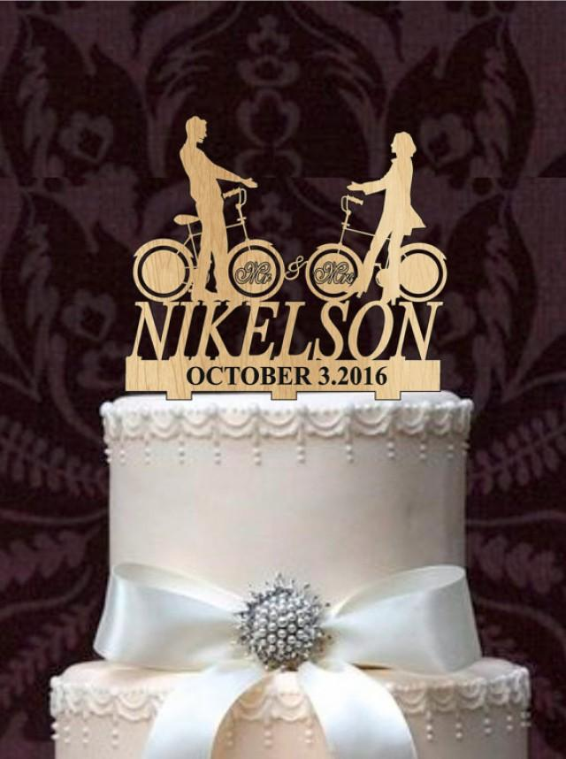 wedding photo - Personalized Custom Wedding Cake Topper Mr and Mrs with a bicycle silhouette, your last name - Rustic Wedding Cake topper, Monogram topper