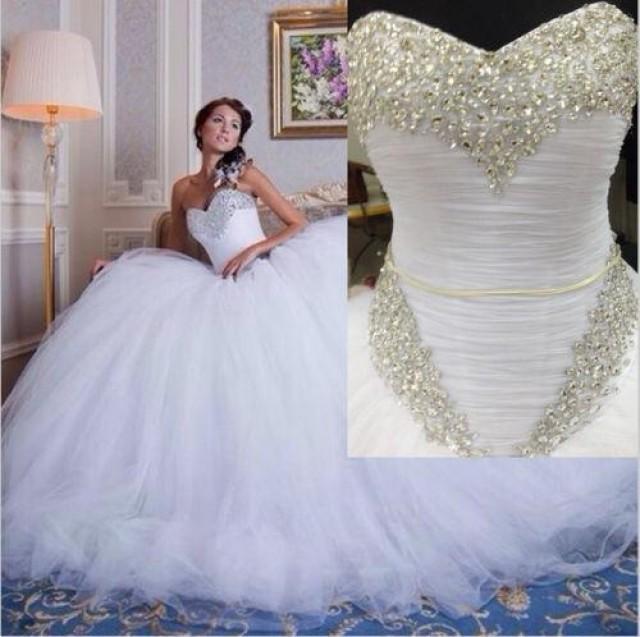Charming Real Image 2016 Plus Size Wedding Dresses Vestidos De Noiva Crystal Beads Bridal Ball