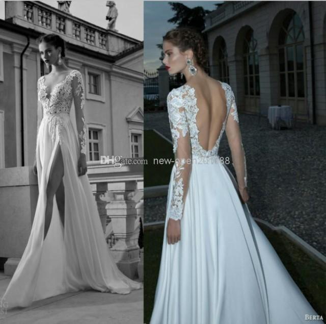 2014 sexy deep v neck v back backless berta long sleeve for Backless wedding dresses online