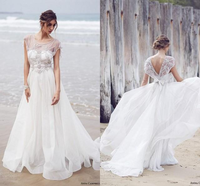 New arrival anna campbell wedding dresses 2016 a line for Backless wedding dresses online