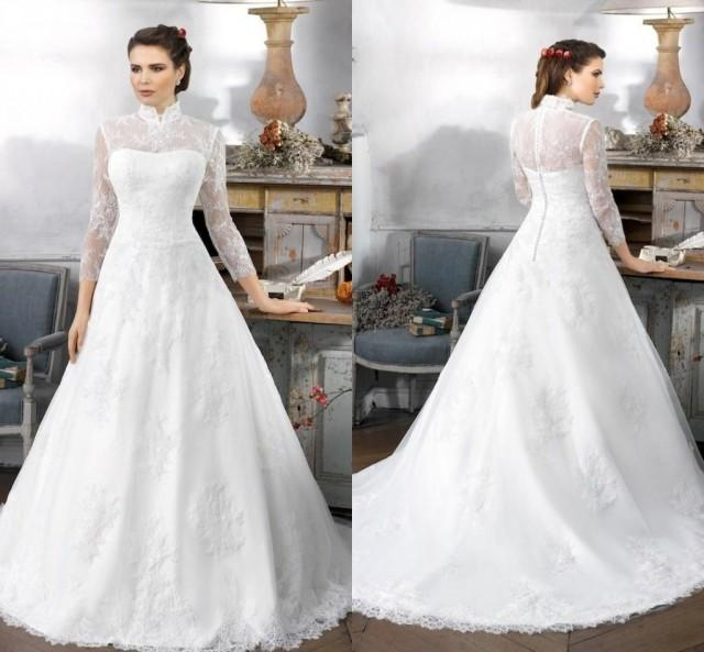 Long Sleeve Winter Wedding Gowns: Vintage High Neck Winter Wedding Dresses 2016 A Line