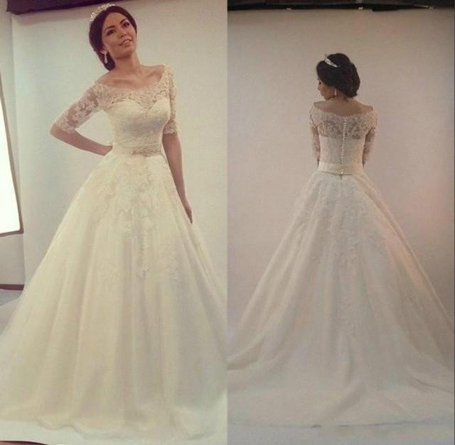 Elegant Real Image Wedding Dresses Half Sleeve 2016 Sheer Tulle Ivory A Line Applique Lace