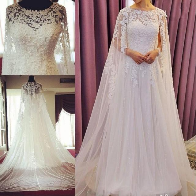 Exquisite lace wedding dresses with wrap 2016 real image for Wedding dress with cape train