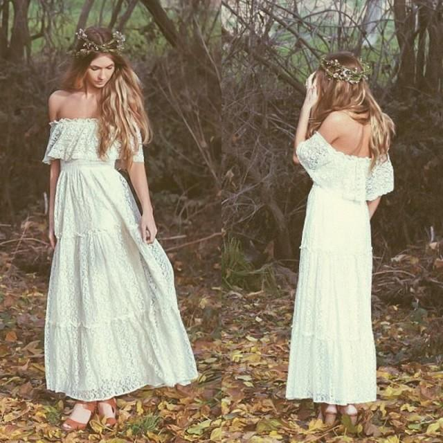 Stunning bohemian 2016 vintage wedding dresses off the for Hippie vintage wedding dresses
