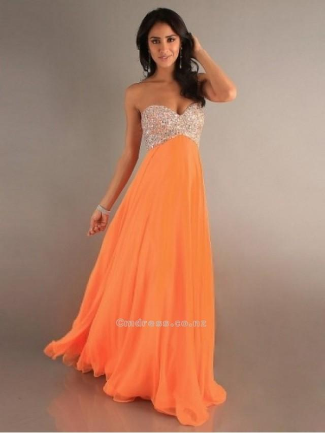 wedding photo - Trendy A-Line Princess Sweetheart Sleeveless Rhinestone Sleeveless Floor-length Chiffon DressSKU: PD000062