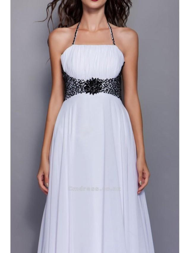 wedding photo - Glamorous A-line Halter Floor-length Chiffon Evening DressSKU: SAL1865-TB