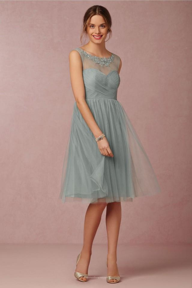 wedding photo - Embroidered Short Knee Length Pleated Tulle Bridesmaid Dress