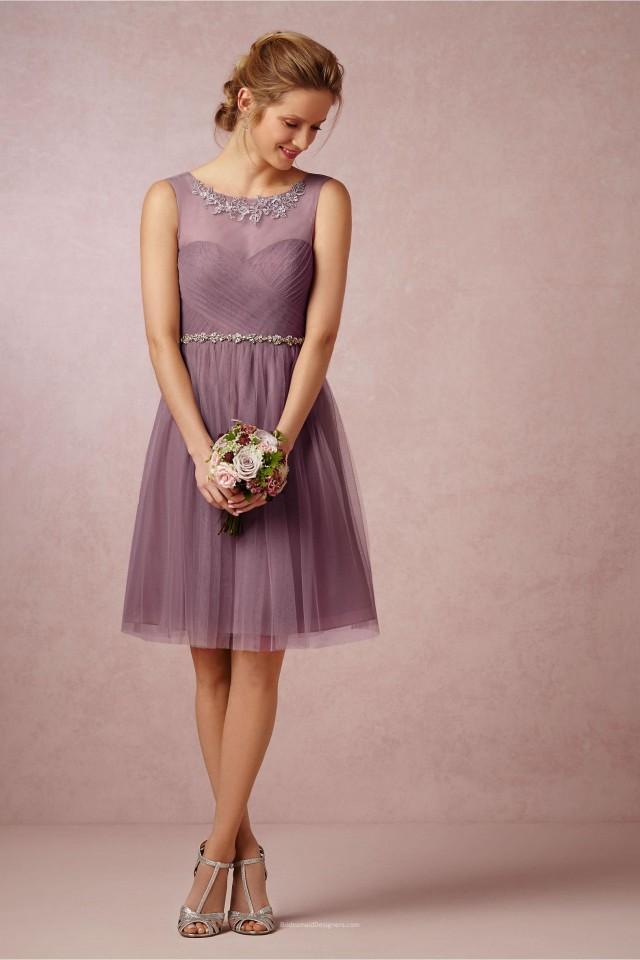 wedding photo - Embroidered Pleated Short Knee Length Mauve Tulle Bridesmaid Dress