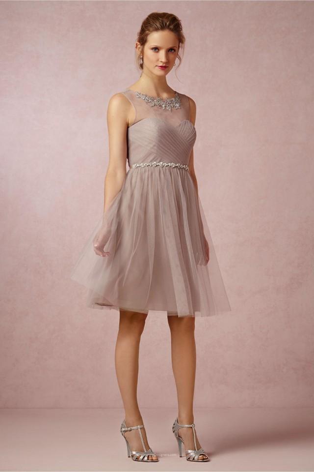 wedding photo - Boat Neckline Sleeveless Short Knee Length Tulle Bridesmaid Dress