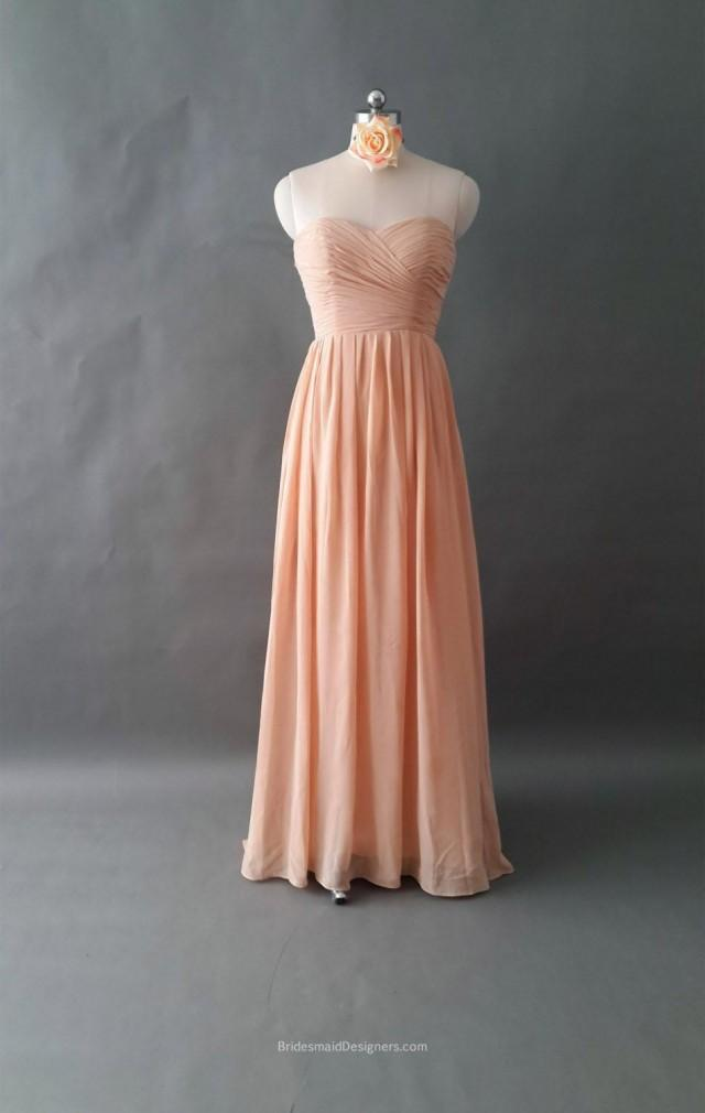 wedding photo - Charming Strapless Sweetheart Ruched Long Peach Chiffon Bridesmaid Dress