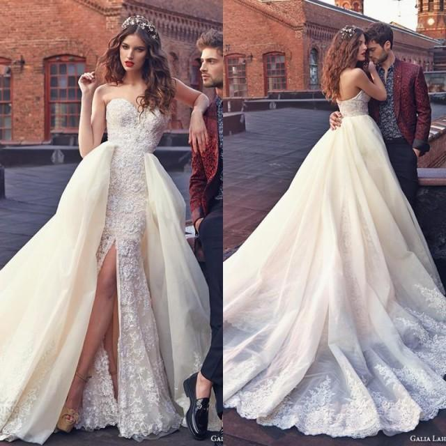 Detachable Trains For Wedding Gowns: Elegant Galia Lahav Wedding Dresses With Lace Applique