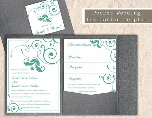Text For Wedding Invitations: Pocket Wedding Invitation Template Set DIY Download