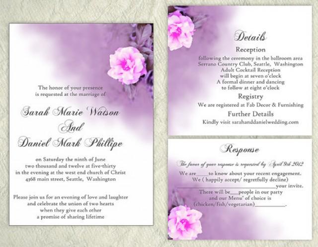 Free Download Wedding Invitation Template: DIY Wedding Invitation Template Set Editable Word File