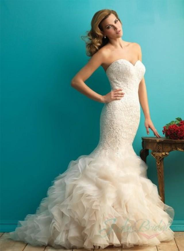 Sexy sweetheart neck lace overlay organza ruffles mermaid for Mermaid wedding dress with ruffles