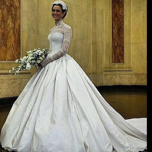 Vintage High Neck 2016 Wedding Dresses Long Sleeve