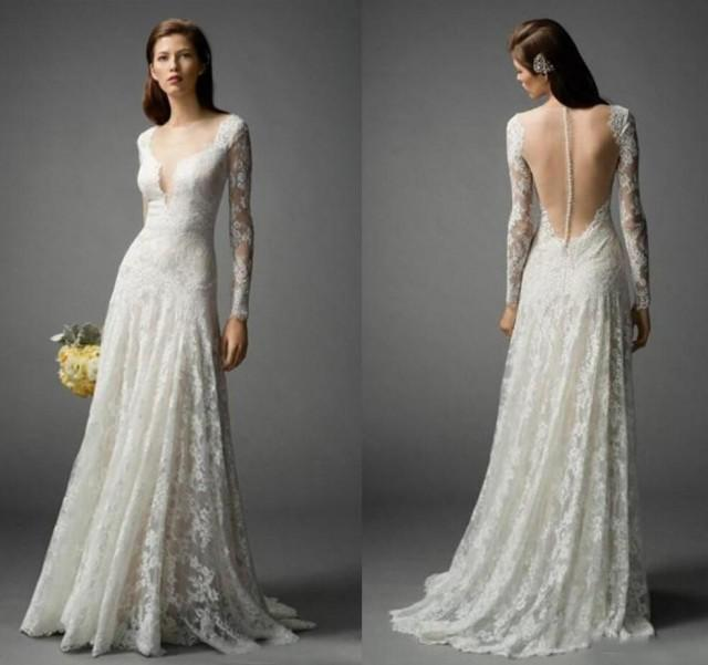 Long sleeve 2016 bohemian wedding dresses lace floor for Bohemian wedding dress shops