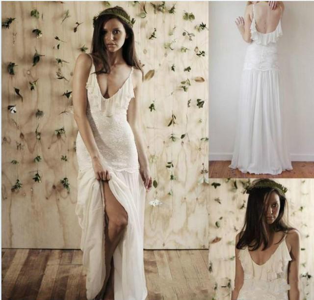 Sexy 2016 spaghetti straps backless bohemian beach wedding for Backless bohemian wedding dress