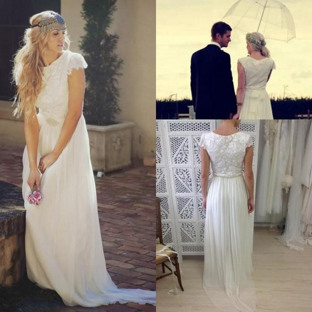Romantic Bohemian Beach Wedding Dresses 2016 Sash Garden Boho Cap Sleeve Garden Gowns Cheap