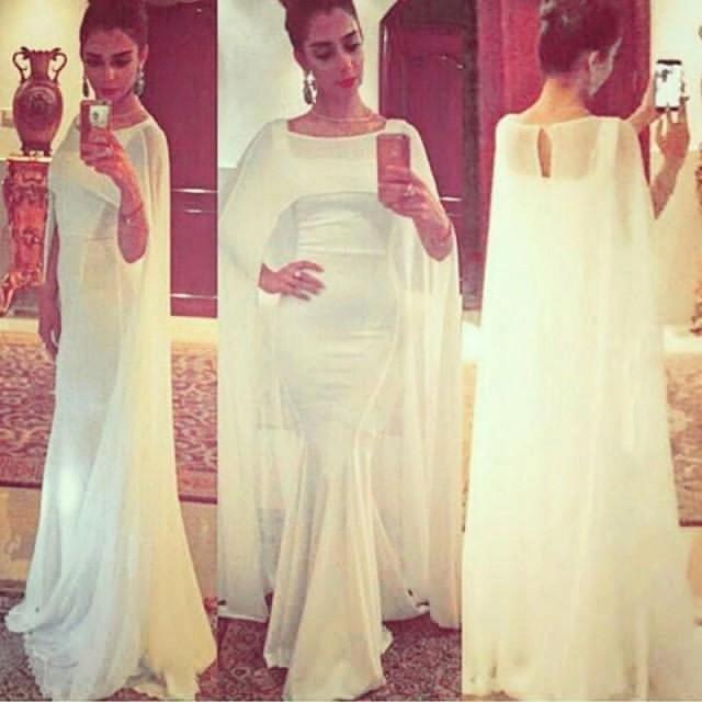 f96da273abe0 Modest Arabic Mermaid 2016 Evening Dresses With Long Cloak Square ...