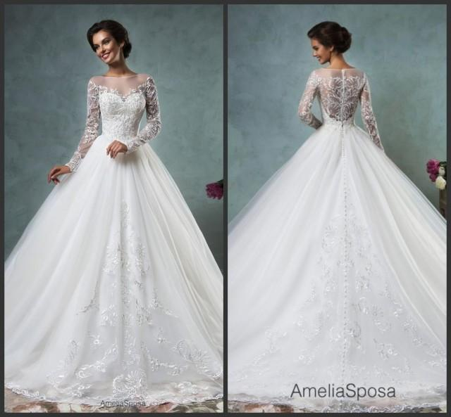 Simple A Line Long Sleeve Wedding Dress Elegant 2016: Elegant White Lace Wedding Dresses Long Sleeve Sheer 2016