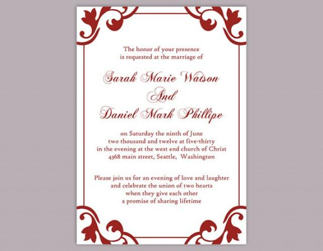 Diy Wedding Invitation Template Editable Word File Instant Elegant Printable Red Maroon 2364089