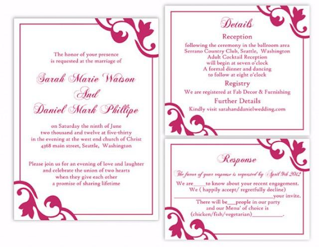 plos one word template - diy wedding invitation template set editable word file