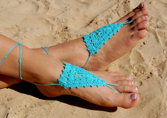 wedding photo - Crochet Beach Wedding Shoes, Crochet Barefoot Sandals, Anklet, Wedding Accessories, Nude Shoes, Yoga socks, Foot Jewelry