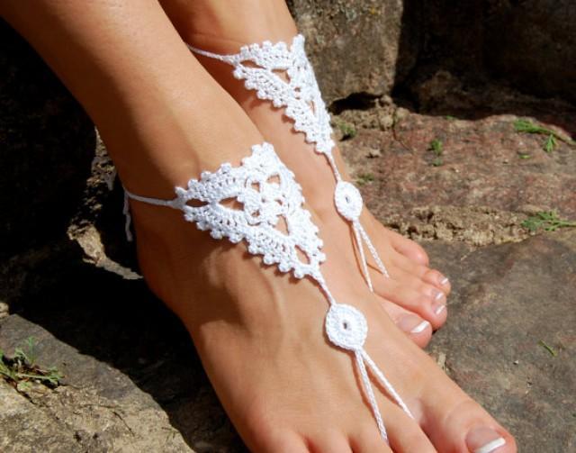 wedding photo - Barefoot Sandals, Beach Wedding Shoes, Wedding Accessories,Crochet Nude Shoes, Yoga socks, Foot Jewelry
