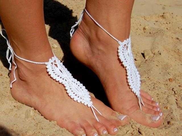 wedding photo - White Beach Wedding Shoes, Crochet Barefoot Sandals, Anklet, Wedding Accessories, Nude Shoes, Yoga socks, Foot Jewelry