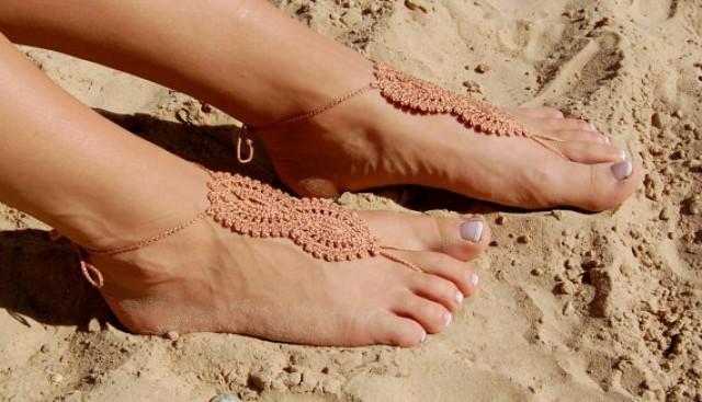 wedding photo - Nude Crochet Barefoot Sandals, Beach Wedding Shoes, Wedding Accessories, Nude Shoes, Yoga socks, Foot Jewelry