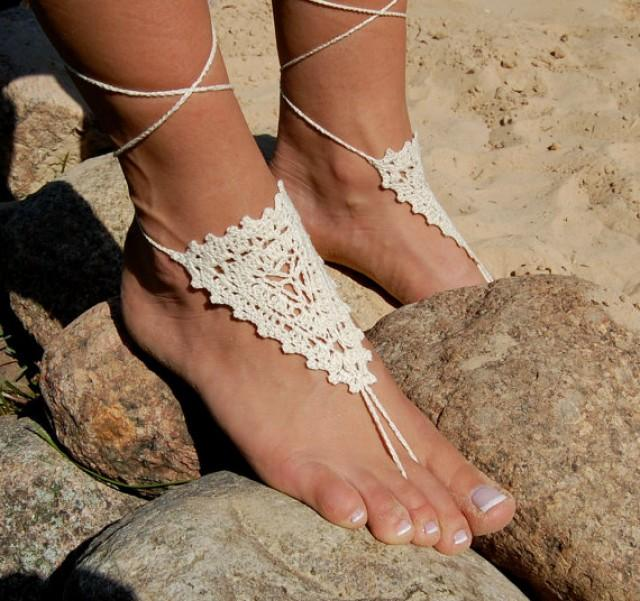 wedding photo - Crochet Barefoot Sandals, Crochet Beach Wedding Shoes, Anklet, Wedding Accessories, Nude Shoes, Yoga socks, Foot Jewelry