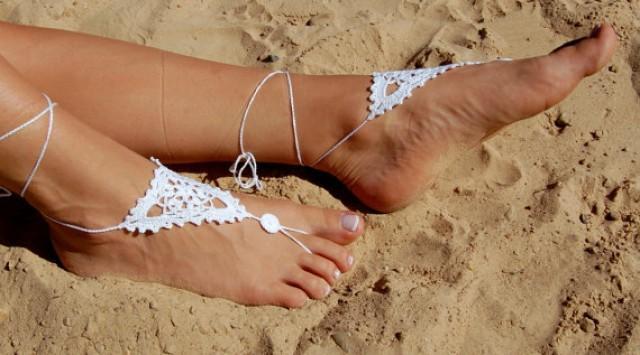 wedding photo - Crochet Barefoot Sandals, Beach Wedding Shoes, Wedding Accessories,Crochet Nude Shoes, Yoga socks, Foot Jewelry