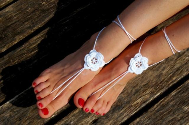 wedding photo - Beach Wedding Shoes, Crochet Barefoot Sandals, Anklet, Wedding Accessories, Nude Shoes, Yoga socks, Foot Jewelry