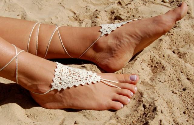 wedding photo - Crochet Barefoot Sandals, Bridal Shoes, Beach Shoes, Wedding Accessories, Nude Shoes, Yoga socks, Foot Jewelry