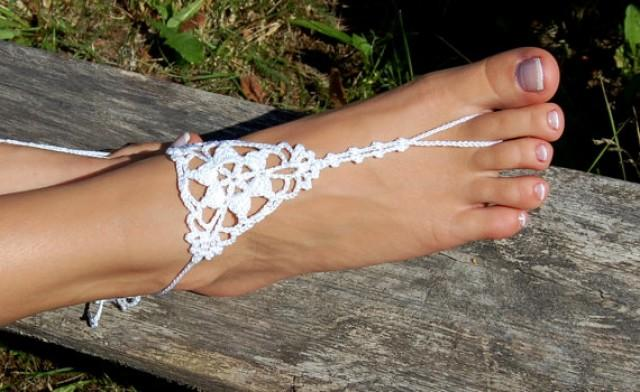wedding photo - Barefoot Sandals, Beach Wedding Shoes, Nude shoes, Anklet, Bridal shoes, Foot jewelry, Wedding, Sexy, Yoga Socks, Crochet Foot Jewelry