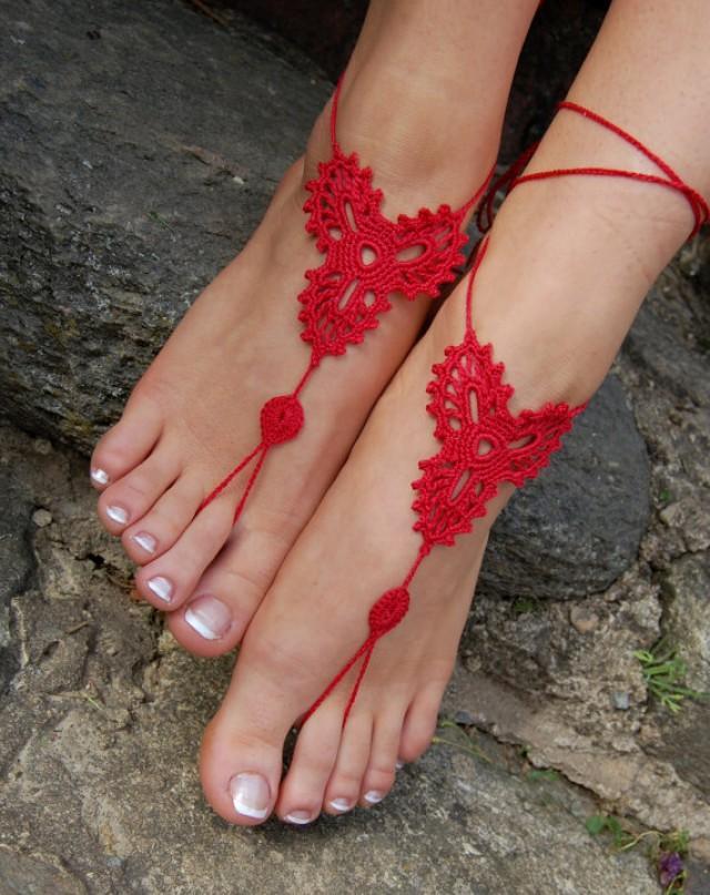 wedding photo - Crochet Beach Wedding Shoes, Crochet Barefoot Sandals, Wedding Accessory, Nude Shoes, Bridal shoes