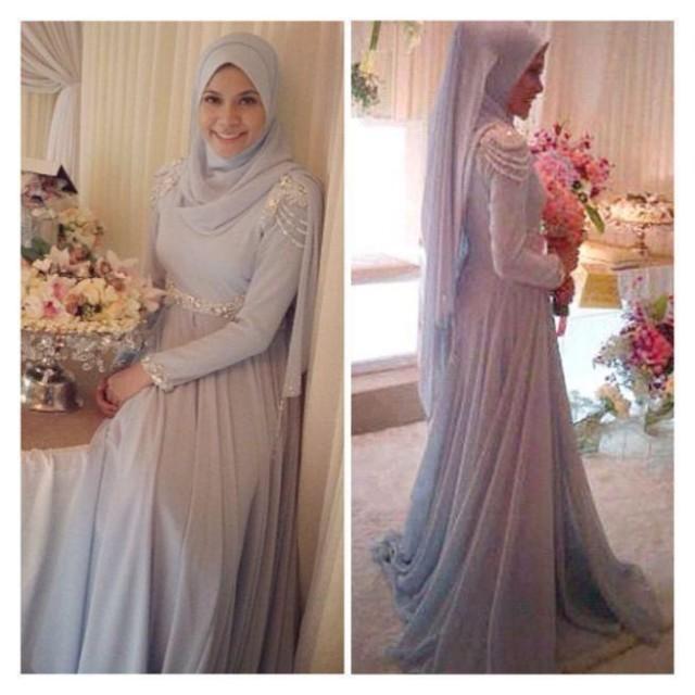Elegant Long Sleeve Wedding Dresses Muslim Dress 2015: Elegant Chiffon Muslim Wedding Dressses 2015 Long Sleeve