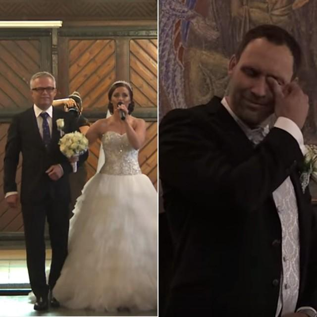 Bride Song To Groom: Bride And Her Dad Moved The Groom To Tears With Wedding