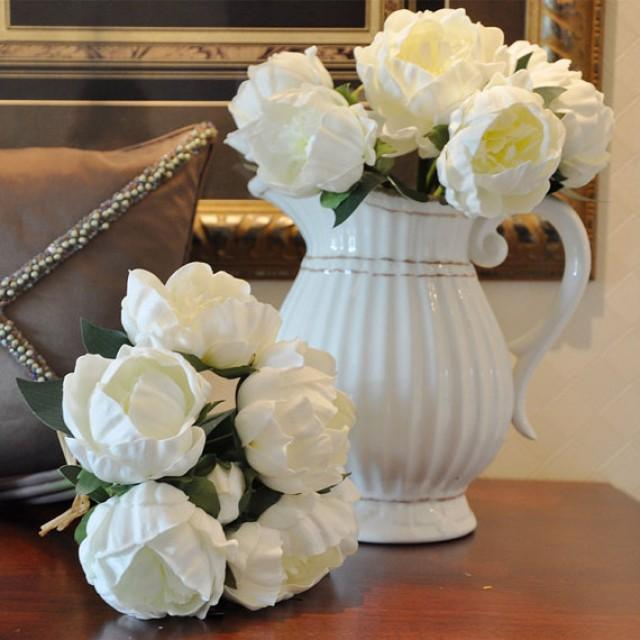 wedding photo - Real Touch White Peony Bouquet Quality PU Flowers Natural Look For Bridal Bridesmaids Bouquet Table Centerpieces
