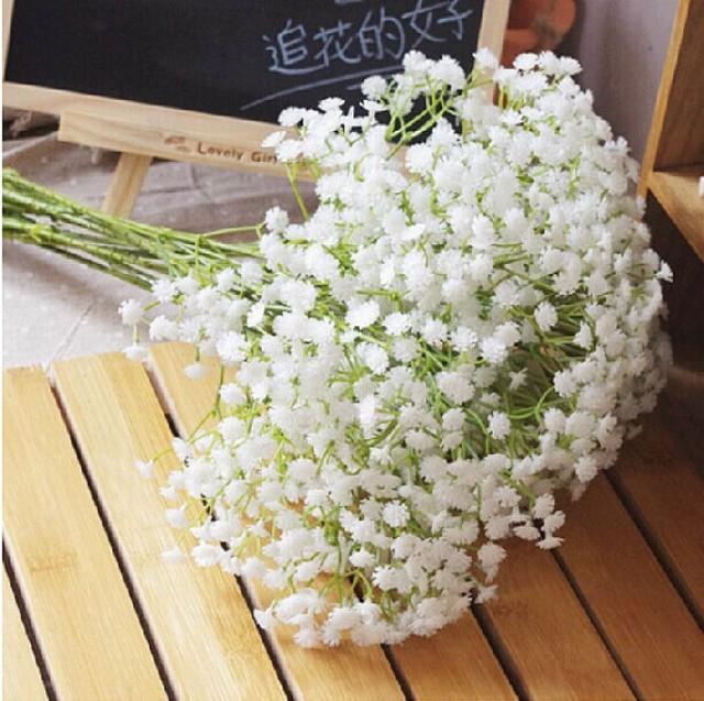 wedding photo - 10 Stems 58cm white Babys breath bouquet flowers wedding table centerpieces Beautiful Babys Breath