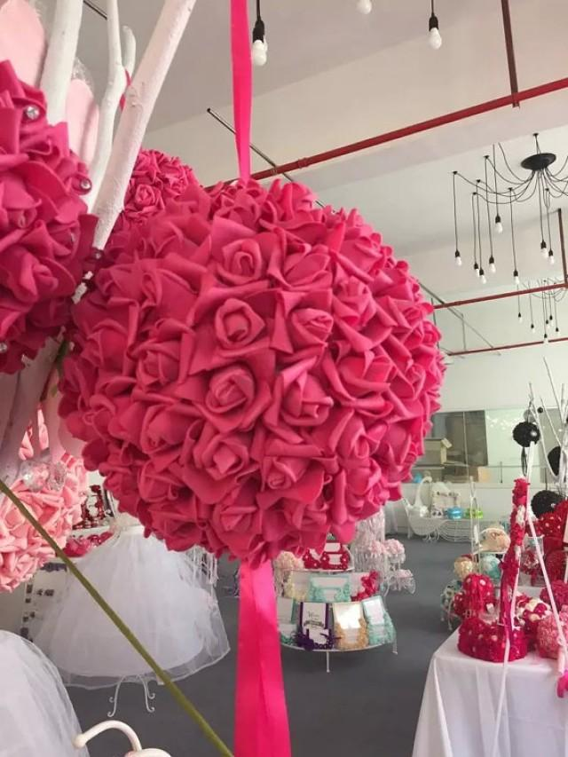 "wedding photo - 9"" Fuschia Kissing Ball Foam Flowers Pomanders For Wedding Centerpieces Decor Bridal Shower Fuschia Flower Ball"