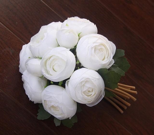 wedding photo - 10 Heads Mini Rose Bouquet Silk Wedding Flowers Artificial Tea Rose Bouquet For Brides Bridesmaids 5 colors