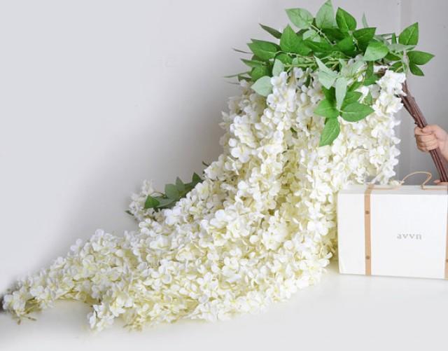 wedding photo - 5pcs Artificial Silk Wisteria Home Garden Hanging Flower Plant White Wisteria Wedding Vine Decor