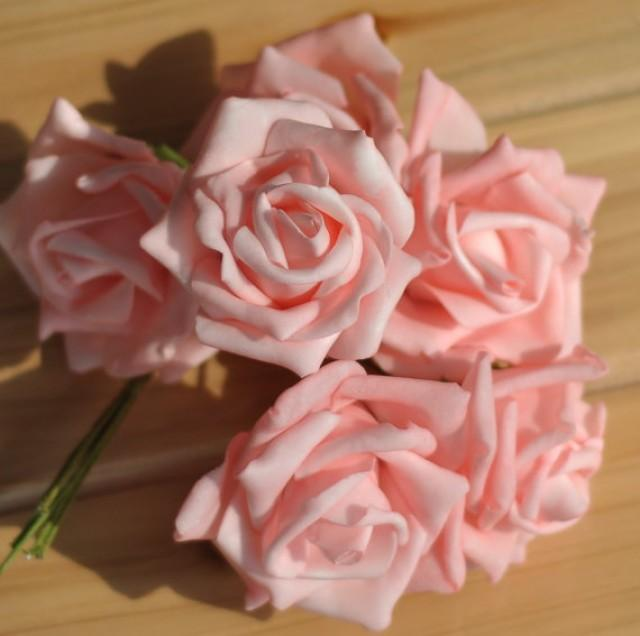 wedding photo - 72 pcs Wedding Flowers Light Pink Artificial Flower Supplies Fake Foam Roses Floral Wedding Table Centerpiece Decor