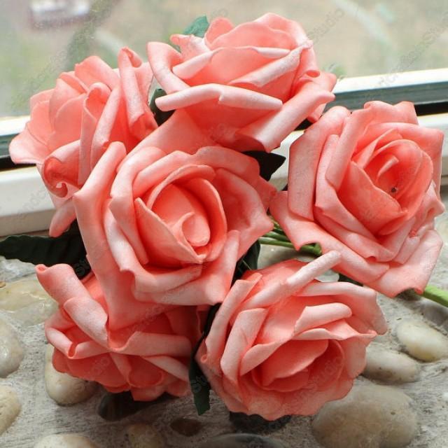 wedding photo - 72 pcs Coral Artificial Flowers For Wedding Decor Bouquet Coral Roses Centerpieces