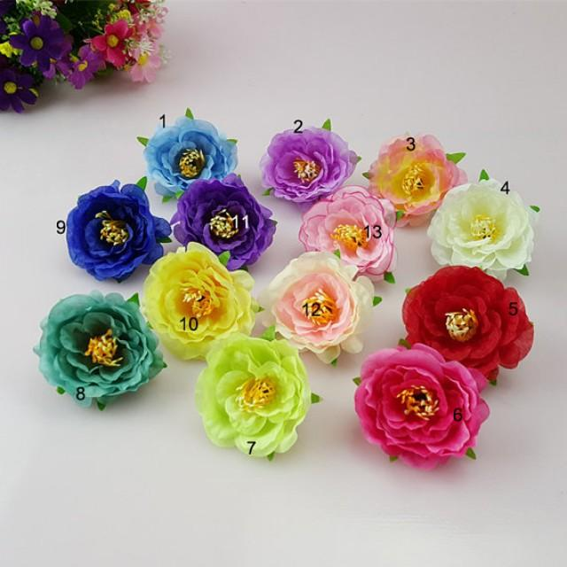 wedding photo - 30 Silk Peonies Flower Heads For Crafts Beach Hairpins Beach shoes Bridal Wrist Flowers Artificial Simulation 13 Colors