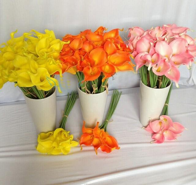 wedding photo - 30pcs Yellow, Orange, Pink Calla Lily Bouquet Artificial Wedding Flowers For Brides Bridesmaids Bouquet Real Touch Calla Lilies