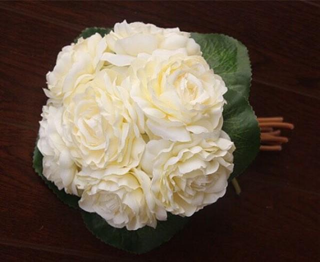 wedding photo - Elegant Rose White Peony Bouquet Wedding Flowers Artificial Camellia Silk Flower Bouquet For Bridesmaids Bridal 7 Flower Heads