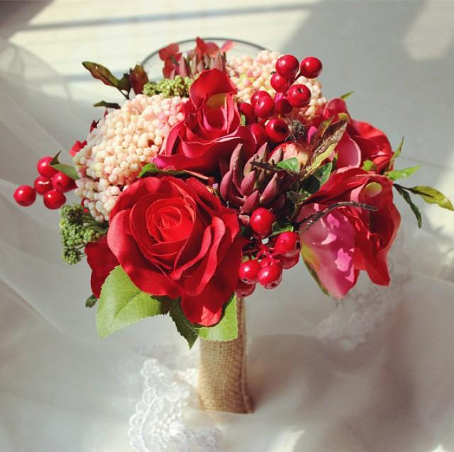 wedding photo - Red Bridal Bouquet Red Berry Silk Roses Succulent Bouquet For Brides Bridesmaids Bouquet For Outdoor Wedding